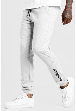 Mens Grey Gothic MAN Official Skinny Fit Ankle Print Joggers