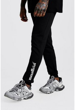 Mens Black Gothic MAN Official Skinny Fit Ankle Print Joggers
