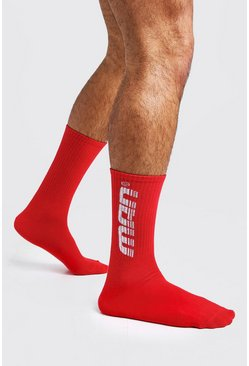 Mens Red Gradient MAN 1 Pack Sport Sock