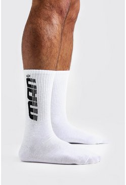 Mens White Gradient MAN 1 Pack Sport Socks