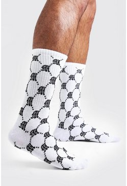 Mens White Repeat M 1 Pack Socks