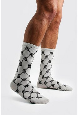 Mens Beige Repeat M 1 Pack Socks