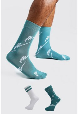 Mens Teal MAN Script Two Pack Socks