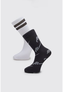 Mens Grey MAN Script Two Pack Socks