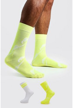 Herr Neon-yellow MAN Script Two Pack Socks