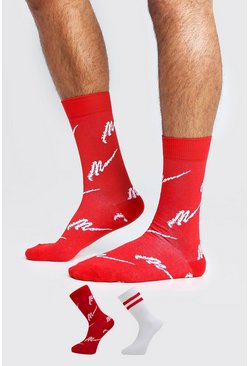 Mens Red MAN Script Two Pack Socks