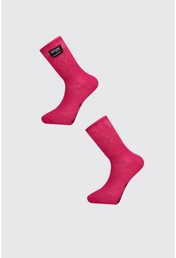 Mens Pink MAN Design 2 Pack Socks