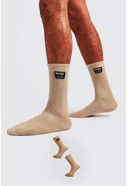 Mens Sand MAN Design 2 Pack Socks