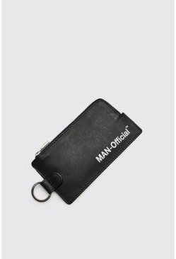 Mens Black MAN Design Coin Wallet