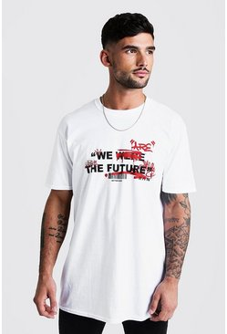 Mens White Oversized Graffiti Future Print T-Shirt