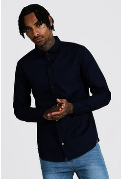 Navy Cotton Poplin Shirt In Long Sleeve