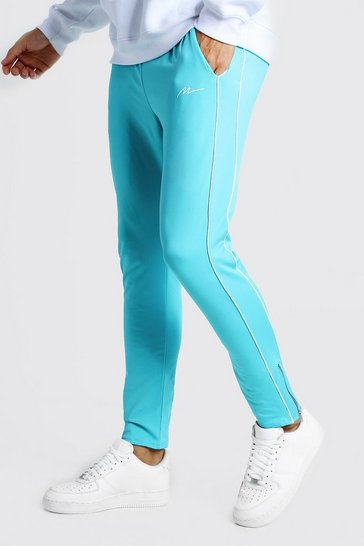 Blue MAN Signature Tricot Joggers With Piping