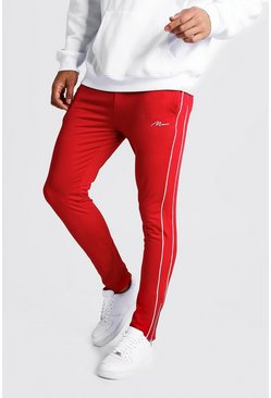 Red MAN Signature Tricot Joggers With Piping