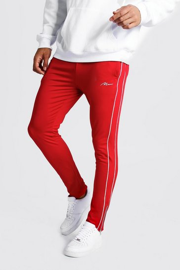 Mens Red MAN Signature Tricot Joggers With Piping