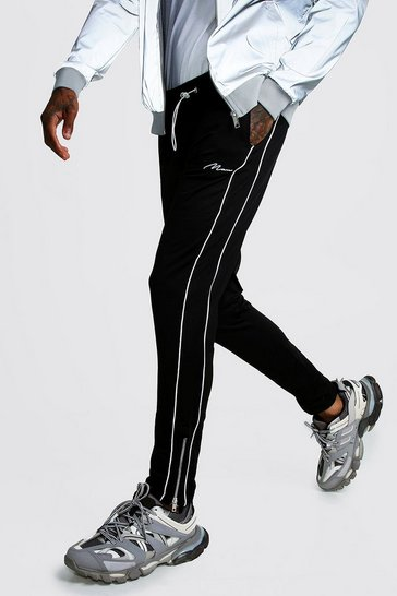 Mens Black MAN Signature Tricot Joggers With Piping