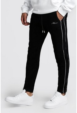 Mens Black MAN Signature Embroidered Velour Pin Tuck Jogger
