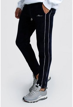Mens Navy MAN Signature Embroidered Velour Pin Tuck Jogger