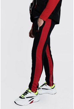 Mens Black Original MAN Biker Jogger With Red Side Panel