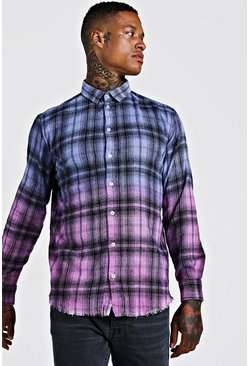 Mens Purple Dye Check Shirt