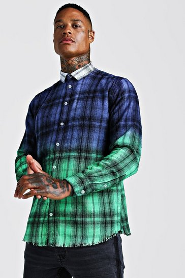 Mens Green Dip Dye Check Shirt