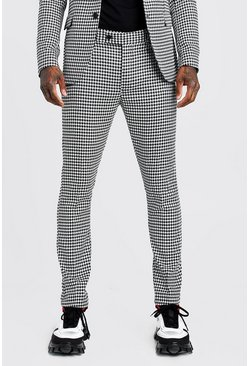 Mens Black Large Dogtooth Skinny Fit Suit Trouser