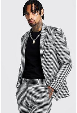 Mens Black Large Dogtooth Skinny Fit Suit Jacket