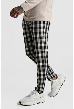 Black Winter Check Smart Jogger Trouser