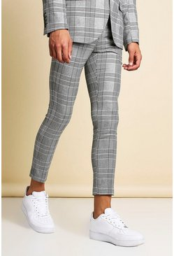 Mens Black Mono Check Skinny Fit Cropped Suit Trouser