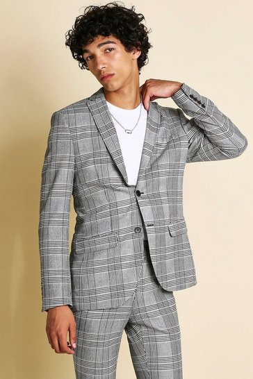 Mens Black Mono Check Skinny Fit Suit Jacket