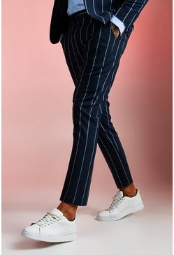 Mens Navy Wide Set Stripe Skinny Fit Suit Trouser