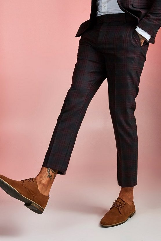Mens Burgundy Bold Check Skinny Fit Suit Cropped Trouser