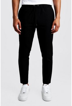 Mens Black Plain Textured Smart Cropped Jogger Trouser