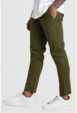 Khaki Plain Trouser Smart Cropped Jogger Trouser