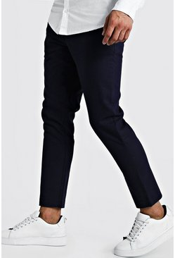 Navy Plain Textured Smart Cropped Jogger Trouser