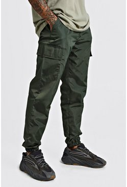 Mens Khaki Nylon Cargo Joggers With Bungee Hem