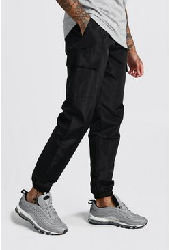 Mens Black Nylon Cargo Joggers With Bungee Hem