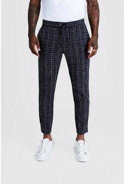 Mens Navy Textured Check Smart Cropped Jogger Trouser