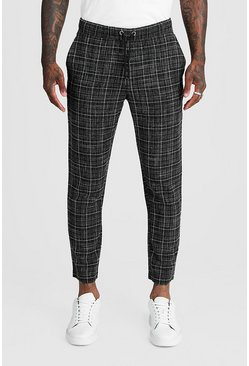 Mens Black Textured Check Smart Cropped Jogger Trouser