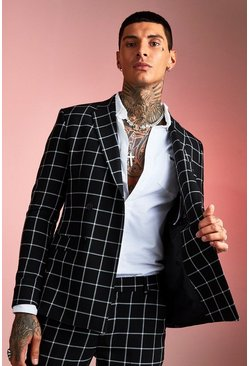 Black Skinny Windowpane Check Double Breasted Jacket
