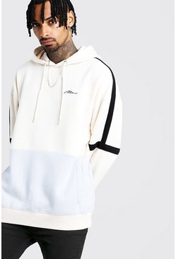 Mens Ecru MAN Signature Colour Block Oversized Hoodie