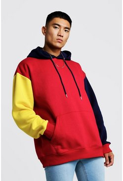 Sweat à capuche à enfiler oversize colour block, Rouge, Homme