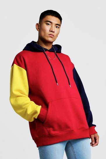 Mens Red Oversized OTH Hoodie In Colour Block