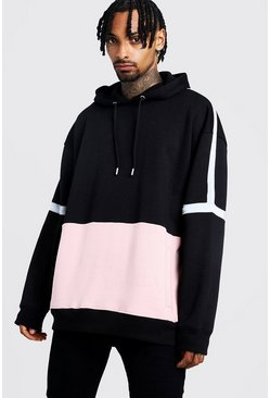 Herr Black Oversized OTH Hoodie In Colour Block