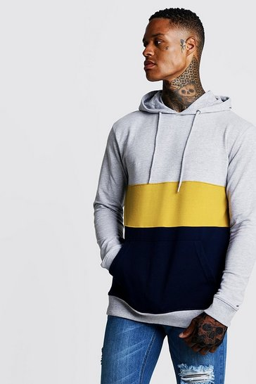 Mens Mustard Colour Block Muscle Fit OTH Hoodie