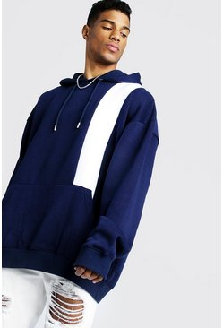 Mens Navy Colour Block Oversized OTH Hoodie