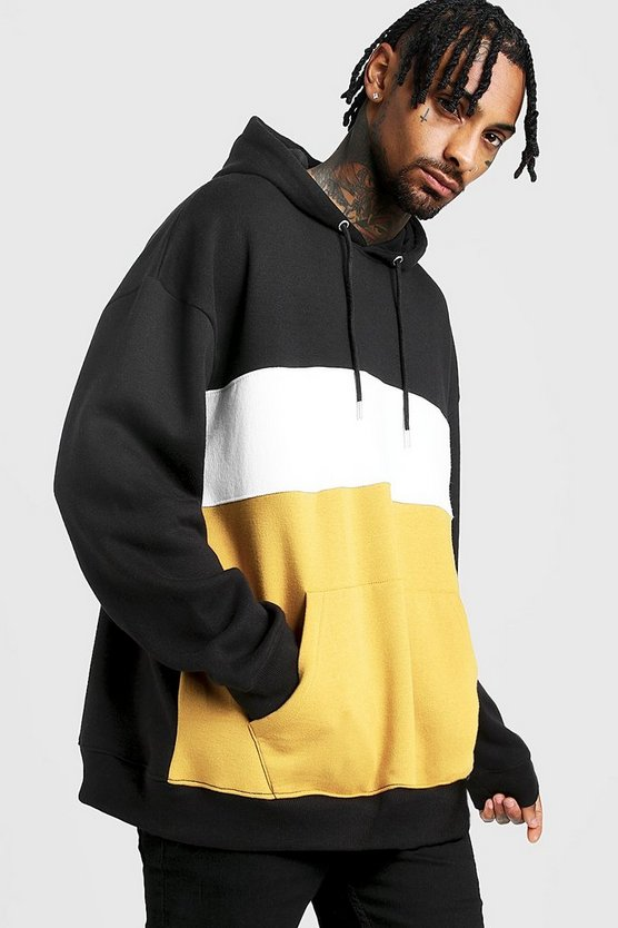 Mens Mustard Colour Block Oversized OTH Hoodie