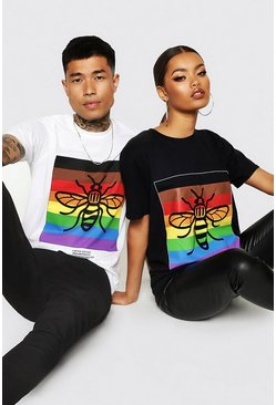 Mens White Pride Loose Fit T-Shirt With Rainbow Bee Print