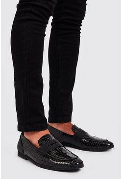 Mens Black Faux Croc PU Patent Saddle Loafer