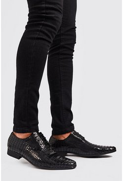 Black Faux Croc Derby Shoe