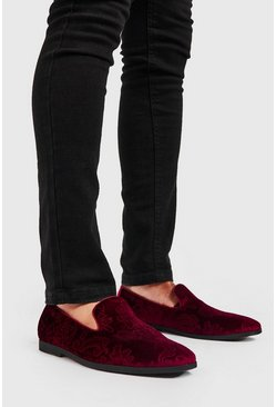 Red Faux Velvet Embossed Loafer